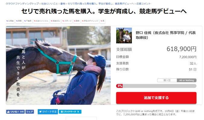 セリで売れ残った馬を購入。学生が育成し、競走馬デビューへ